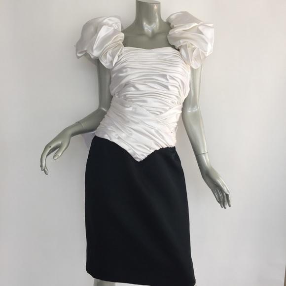 1a3841a8079 Vintage 80 s Prom Dress Bow Puffy Sleeve Satin. M 5b36590c6a0bb793dc7fa18d